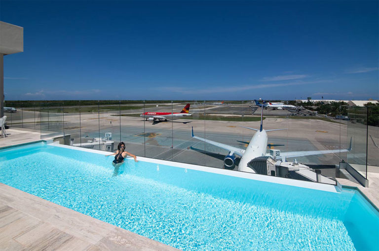 There is a pool at the first class lounge at Punta Cana Airport. Photo: Supplied.