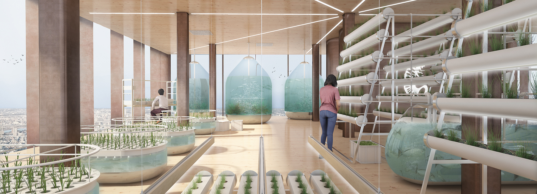Vertical superfarms to produce inner-city crops