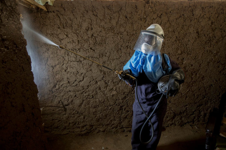 Caroline Obinju Ocholla sprays a house with insecticide in Kenya in 2017. Photo: President's Malaria Initiative/Flickr.