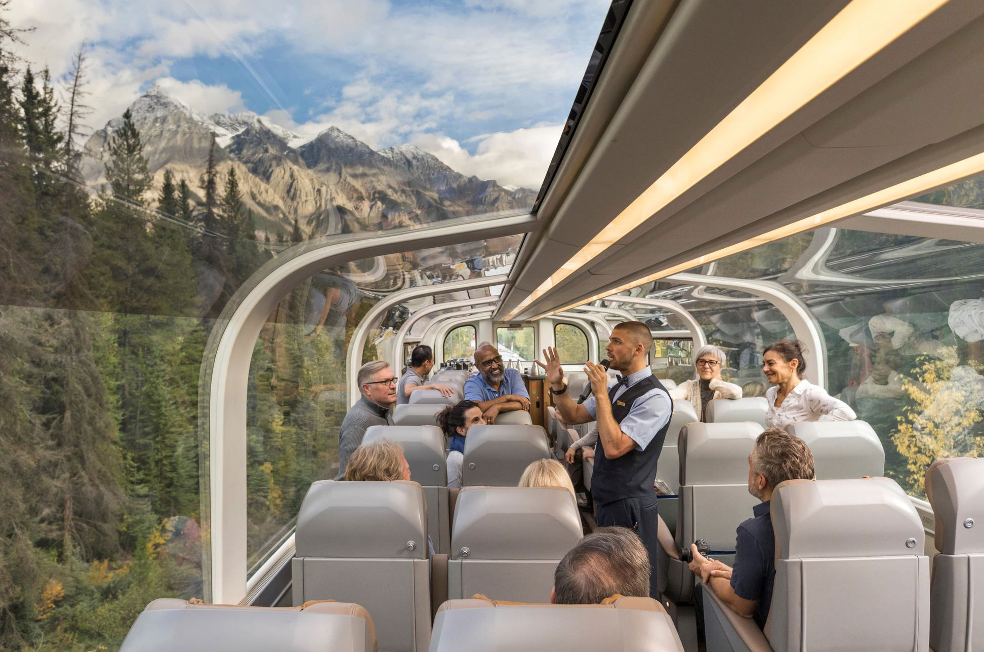 Experience the Canadian Rockies on a glass-domed train