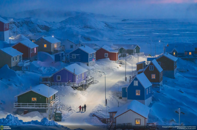Weimin Chu says: 'Upernavik is a fishing village on a tiny island in west Greenland. Historically, Greenlandic buildings were painted different colors to indicate different functions, from red storefronts to blue fishermen's homes—a useful distinction when the landscape is blanketed in snow. This photo was taken during my three-month, personal photo project to present life in Greenland.'