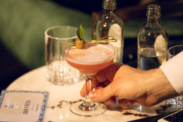 The winning cocktail for this year was called 'Pink Me Up' and mixed rum, fresh tomato, syrup, lemon juice, olive brine and basil. Image: Bacardí.