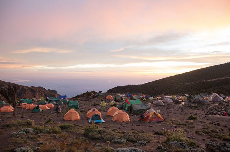 General camp rule: round tents are for sleeping, rectangular for eating. This is Barranco Camp on day three. Image: Matthew Sterne.