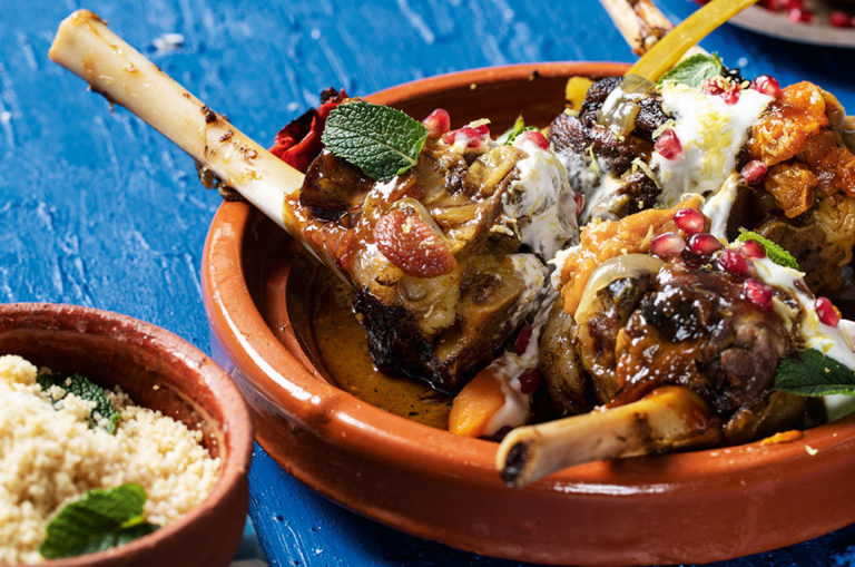 Lamb shank tagging with mint couscous. Image: Highbury Media.