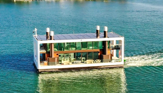 The world's first solar powered livable boathouse
