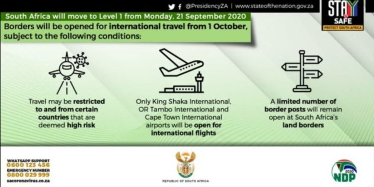 South Africa International Flights Resumes and Border Opened
